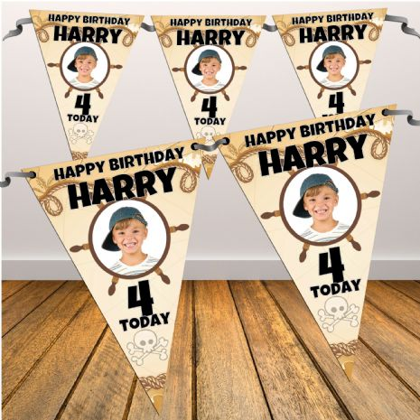 Personalised Happy Birthday Pirate Party PHOTO Bunting Banner - N15 Hanging Decoration